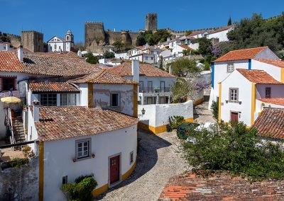 The medieval castle and walled town of Obidos in the Oeste region of Portugal.